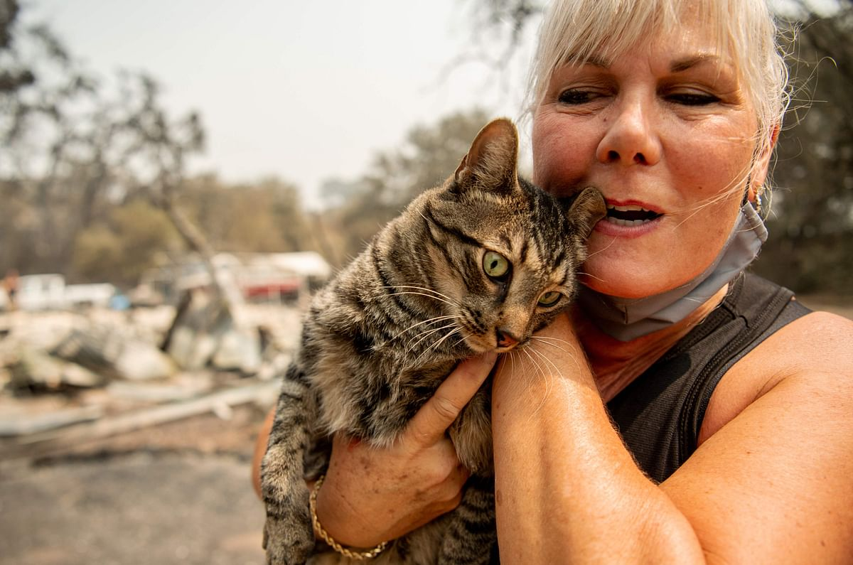 A resident reacts with joy after finding her cat amidst the burnt remains of her home.