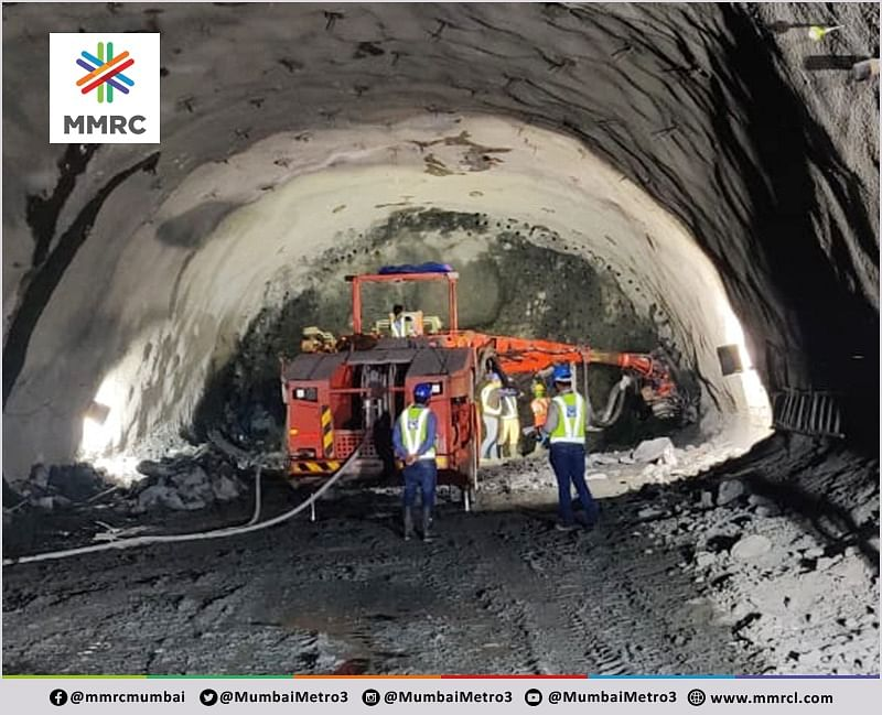 Tunneling work is in progress at Hutatma Chowk station.