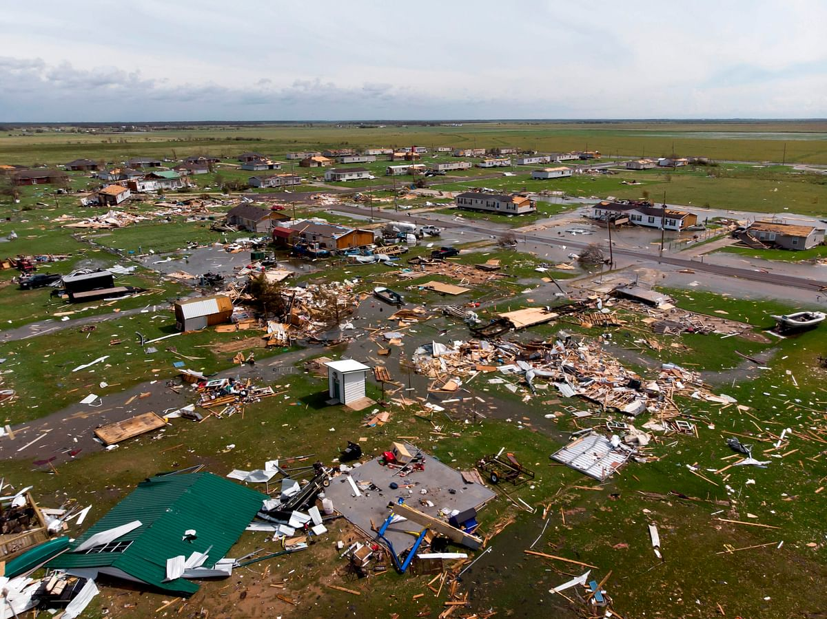 This aerial view shows damage to a neighborhood by Hurricane Laura outside of Lake Charles, Louisiana, on August 27