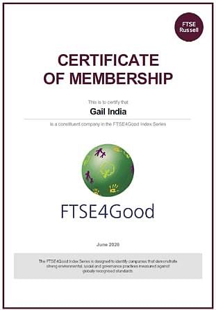 "GAIL included in Global Sustainability Index ""FTSE4GOOD Index Series"""