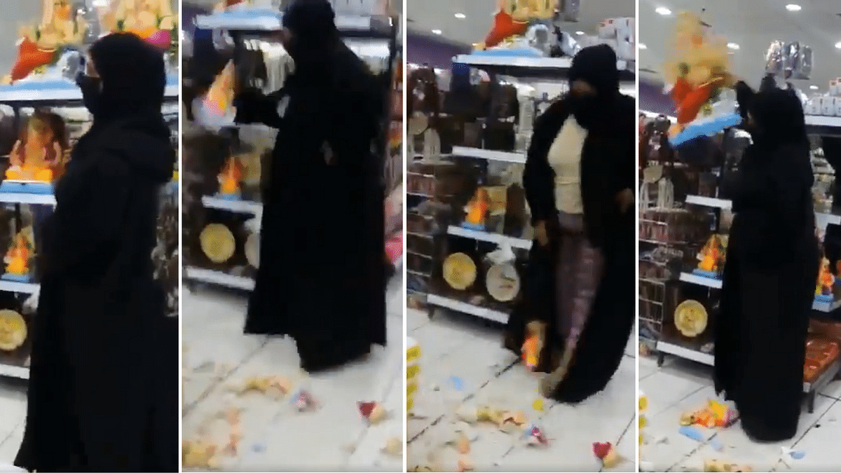 Bahrain: Netizens aghast over viral video of burqa-clad woman breaking idols