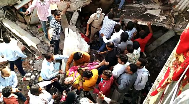 Two-storey building collapses near Lal Gate area in Dewas on Tuesday. 6 people rescued and sent to the hospital.