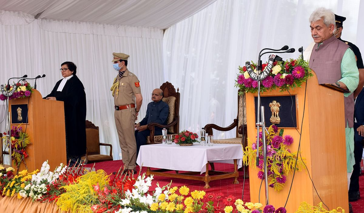 Manoj Sinha takes oath as the new Lieutenant Governor of Jammu and Kashmir in Srinagar on Friday