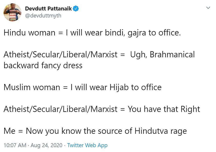 Twitter slams Devdutt 'Boomer' Pattanaik for comparing 'right to wear hijab' with 'bindi and gajra'