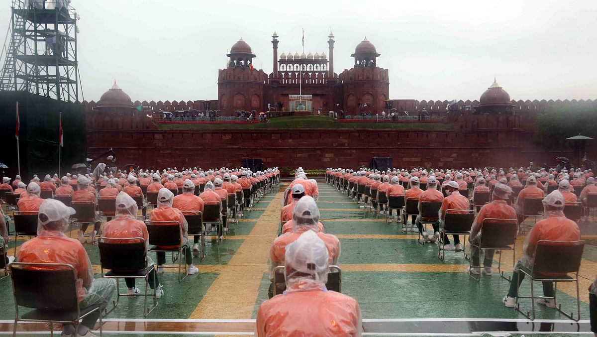 Glimpses of Independence Day Celebration full dress rehearsal at the historic Red Fort in New Delhi.