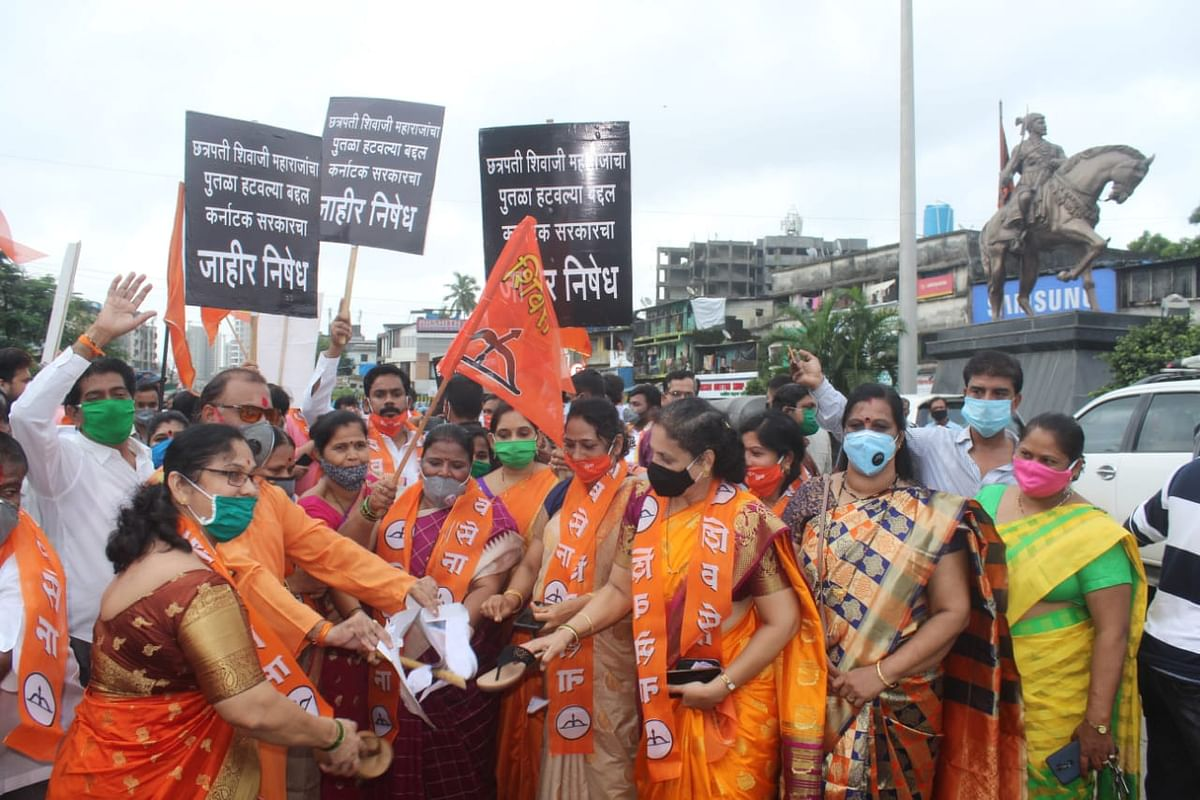 Shiv Sena workers protest in Kashimira