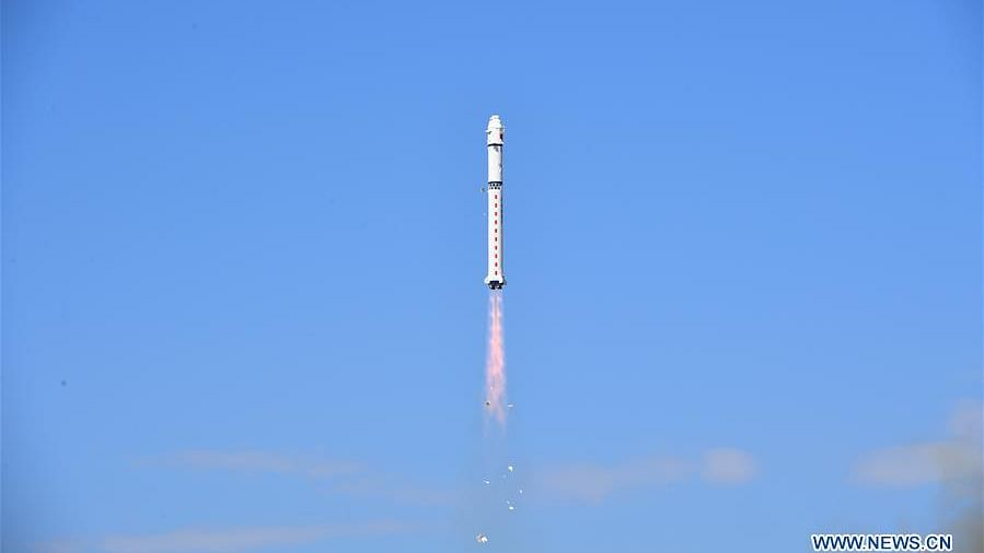 A Long March-2D carrier rocket, carrying the Gaofen-9 05 satellite, is launched from the Jiuquan Satellite Launch Center in northwest China, Aug. 23, 2020. China successfully launched a new optical remote-sensing satellite from the Jiuquan Satellite Launch Center in northwest China at 10:27 a.m. Sunday (Beijing Time). A multifunctional test satellite and another satellite named Tiantuo-5 were also launched via the rocket. (Photo by Wang Jiangbo/Xinhua)