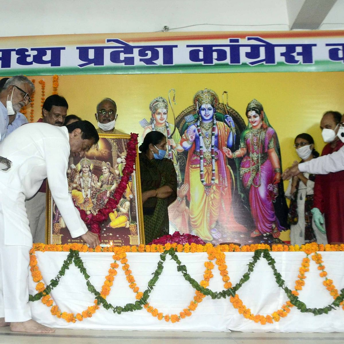 Bhopal celebrates Bhoomi Pujan, Ram in MP Congress office for first time