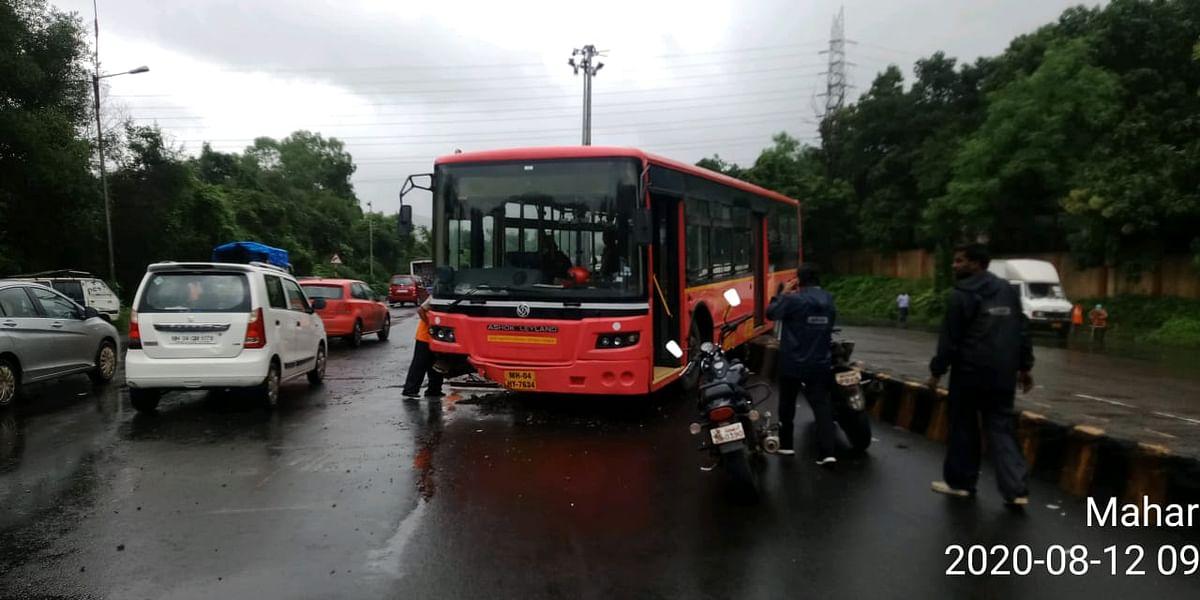 Thane Municipal Transport bus hits divider due to brake failure