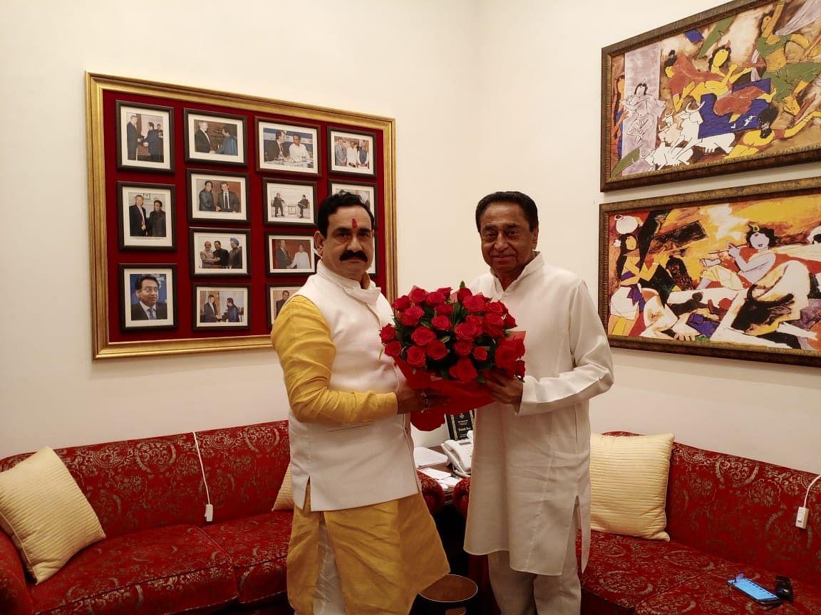 Building bridges: Home minister Narottam Mishra congratulates LoP  Kamal Nath, visits his residence