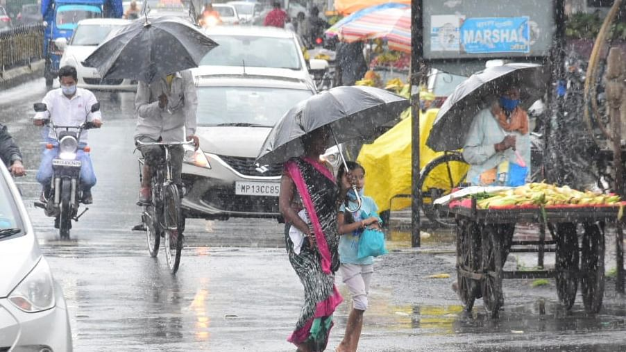 A glimpse of fresh spell of rainy water in the city on Saturday.