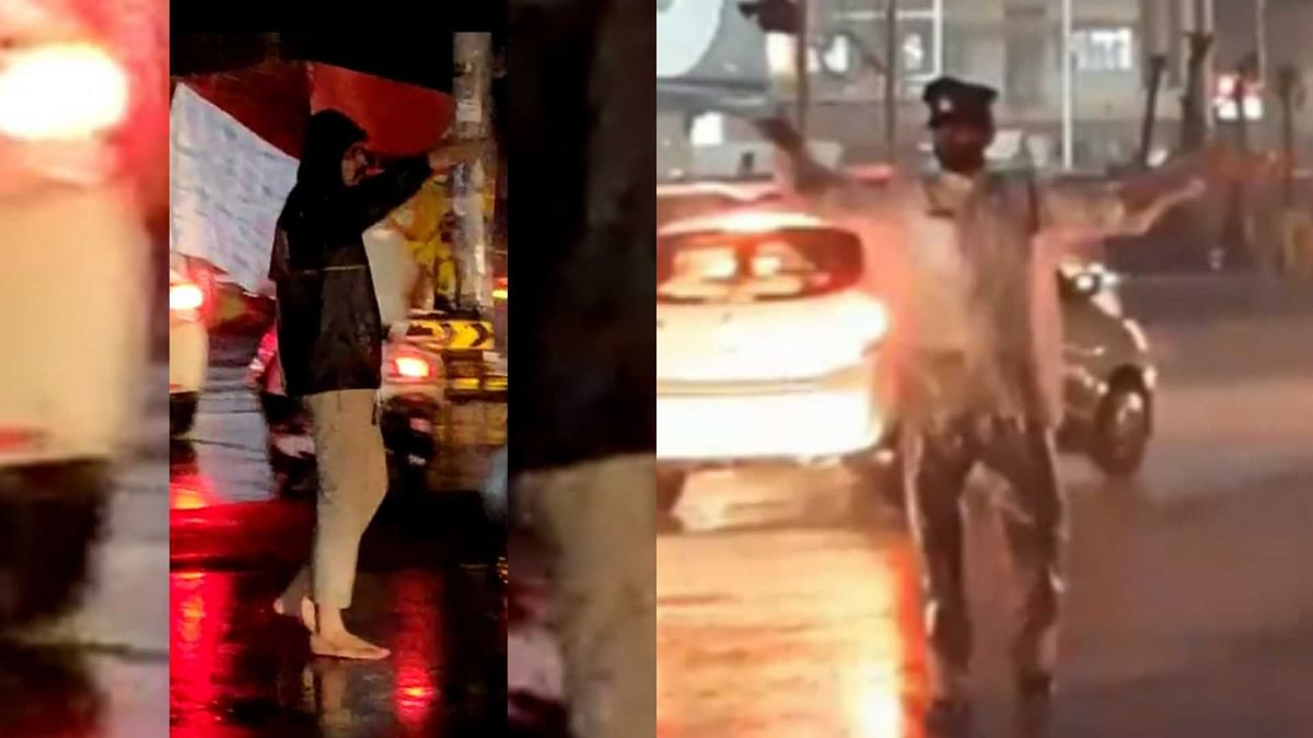 Duty above life: Indore traffic cops battle rain to carry out their jobs with elan