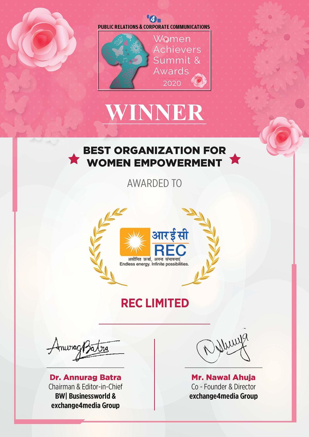REC bags 'Best Organization for Women Empowerment' award