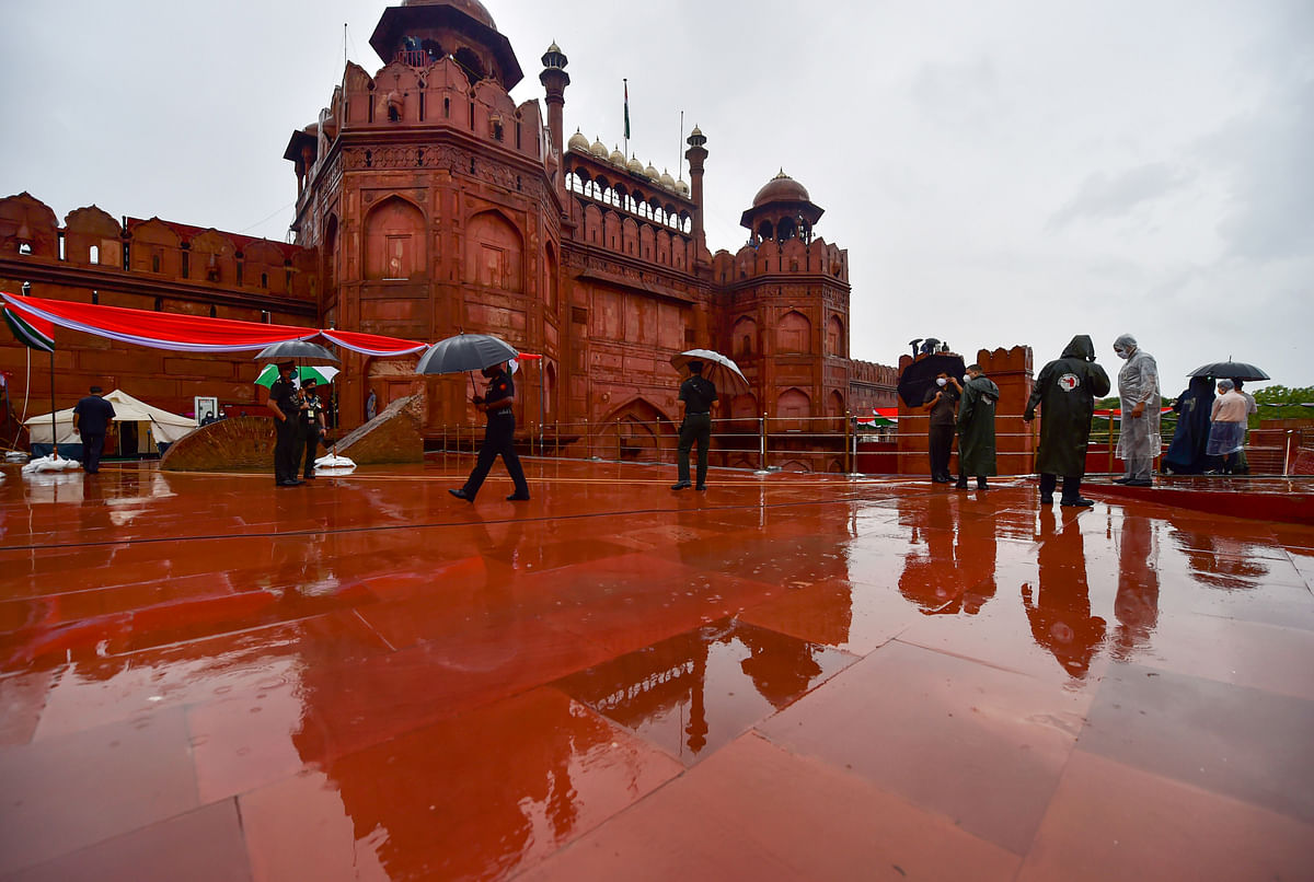 New Delhi: Security personnel during the full dress rehearsals for the 74th Independence Day celebrations, amid the ongoing COVID-19 pandemic, on a rainy day at Red Fort in New Delhi, Thursday, Aug. 13.