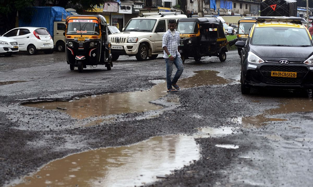 Potholes disrupt vehicular movement in the city