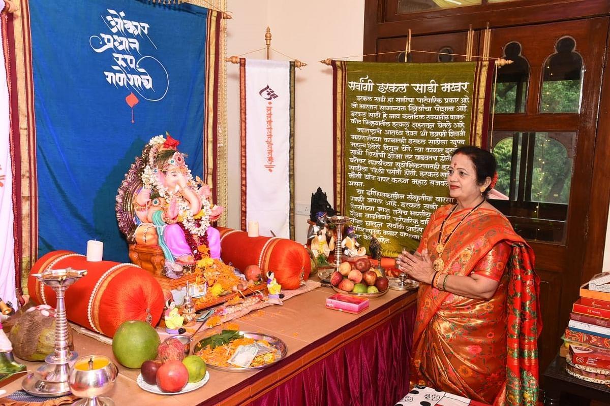 Mumbai Mayor Kishori Kishor Pednekar offers prayers to Lord Ganesha at her residence, the Mayor's Bungalow in Byculla.