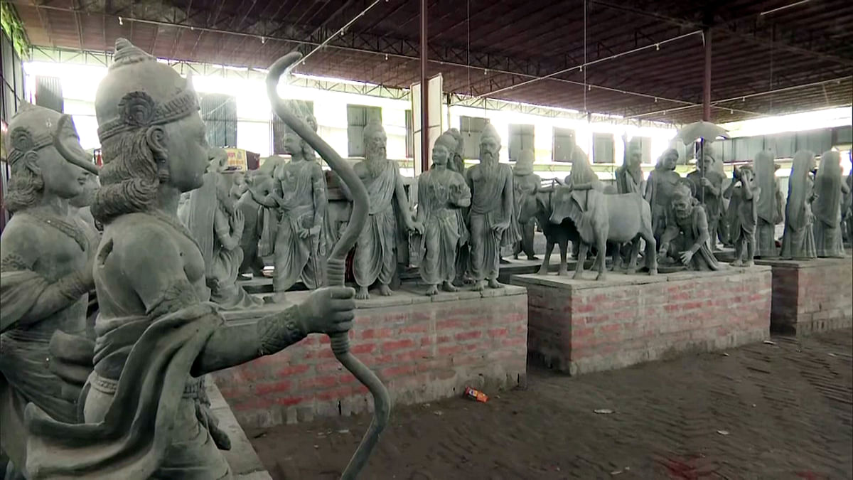 A view of the design of the statues at the Ram temple site, in Ayodhya
