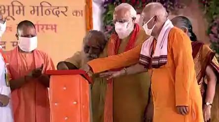 Head priest tests positive week after boomipujan; he was seen in close proximity to PM Modi