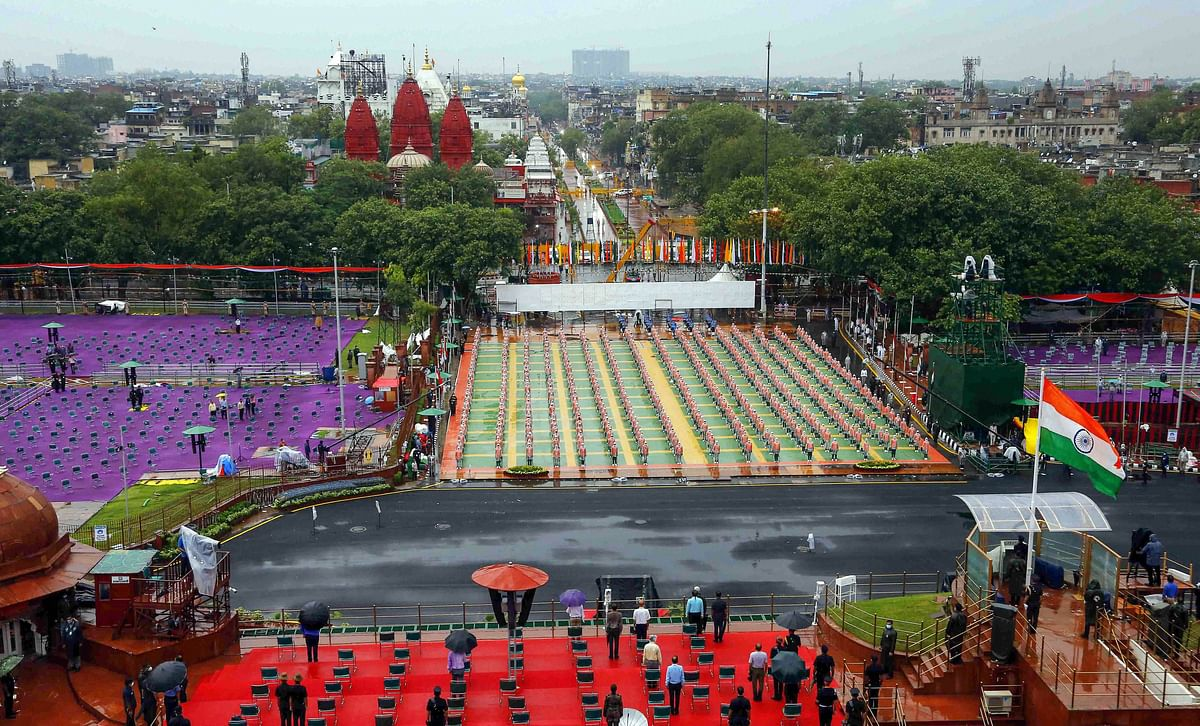 New Delhi: Seating arrangements at the historic Red Fort during the full dress rehearsals for the 74th Independence Day celebrations, amid the ongoing COVID-19 pandemic, in New Delhi, Thursday.