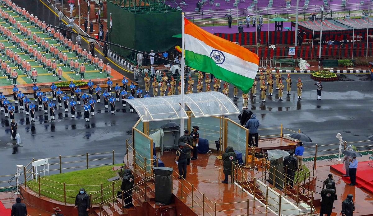 New Delhi: Tri-Service contingents during the full dress rehearsals for the 74th Independence Day celebrations, amid the ongoing COVID-19 pandemic, at Red Fort in New Delhi, Thursday.