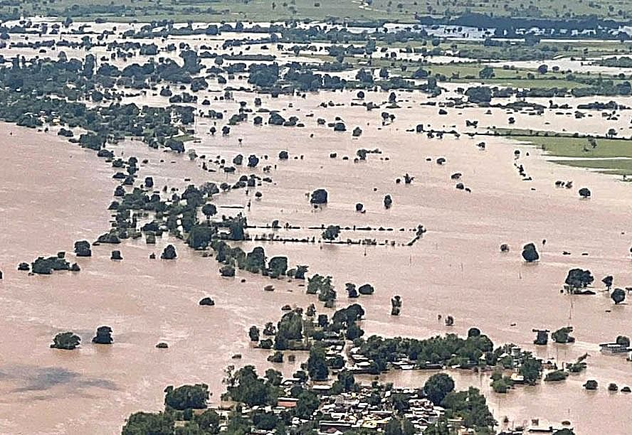 An aerial view of the flood-affected area in Hoshangabad on Sunday.