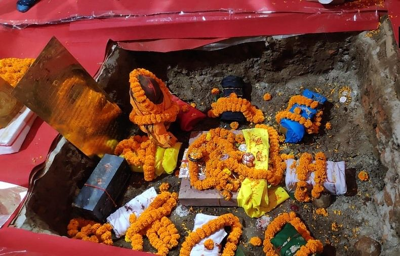 Bricks laid as part of 'Bhoomi Pujan' for RamTemple in Ayodhya. Soil from more than 2000 pilgrimage sites and water from more than 100 rivers was brought for the rituals.