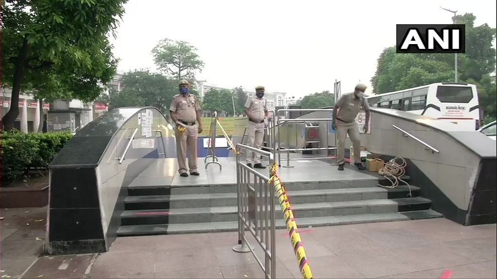 Delhi Metro resumed services from 7 am today after being shut for 169 days due to COVID-19. Visuals from outside Rajiv Chowk metro station.