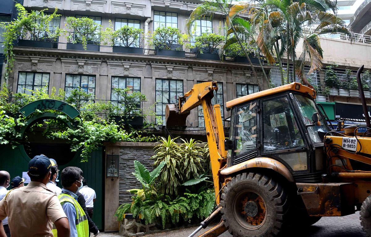 Mumbai: BMC demolishes alleged illegal alterations at Kangana Ranaut's bungalow in Pali Hill.