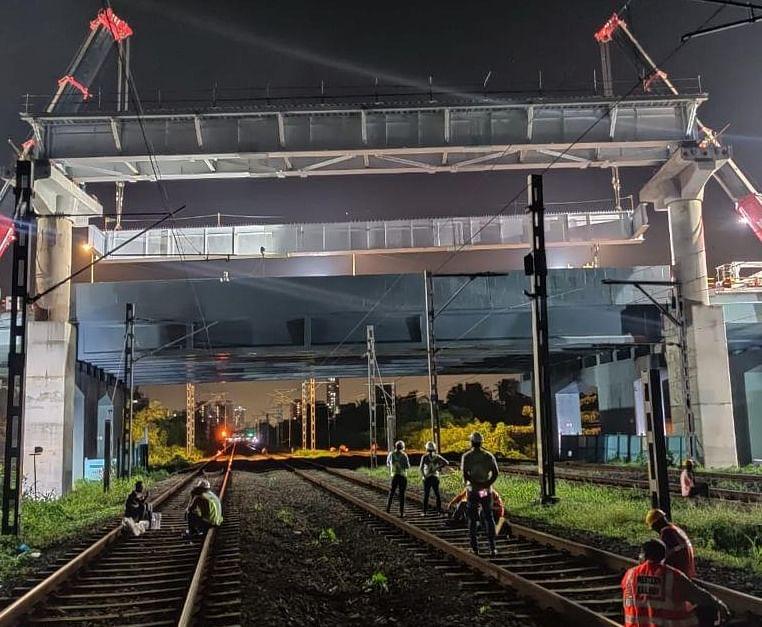 Mumbai Metro line 2A: 3 girders of 36 tons each launched across railway tracks