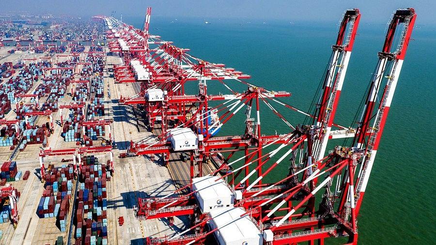 File photo shows a view of Nansha Port in Guangzhou, south China's Guangdong Province