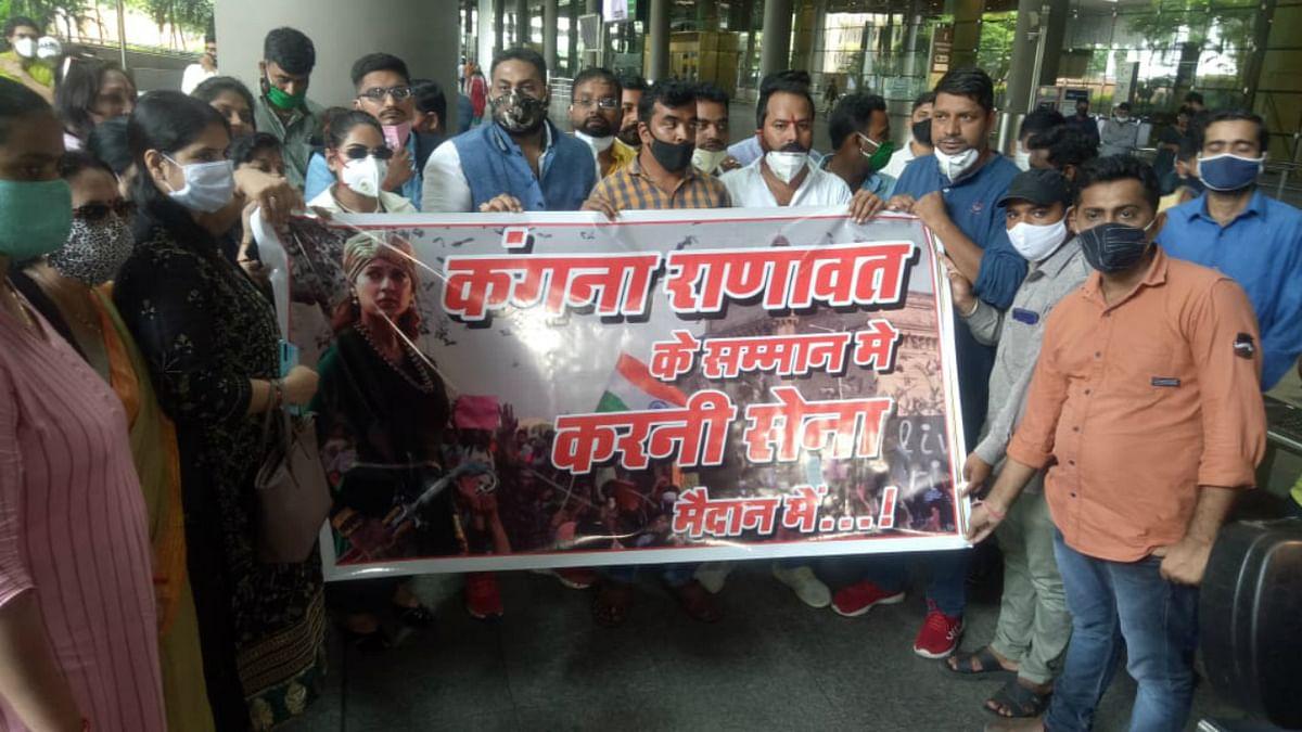 Karni Sena members gather at Mumbai Airport in support of Kangana Ranaut