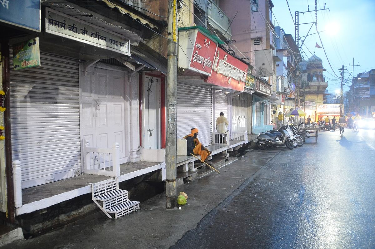 Most of the Sarafa market shops were closed in the evening in Ujjain on Saturday.