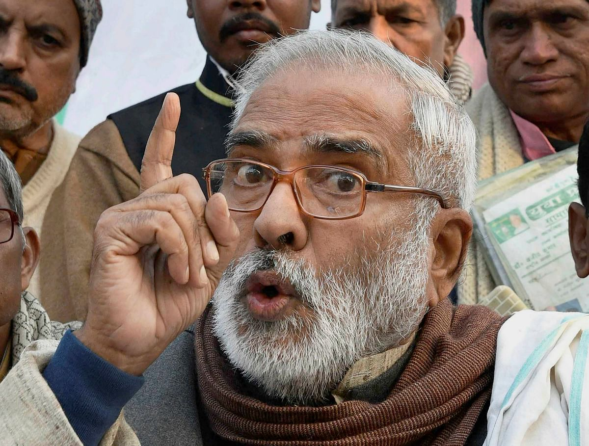 In this file photo, dated Dec 27, 2017, is seen RJD Vice President Raghuvansh Prasad Singh at a press conference in Patna
