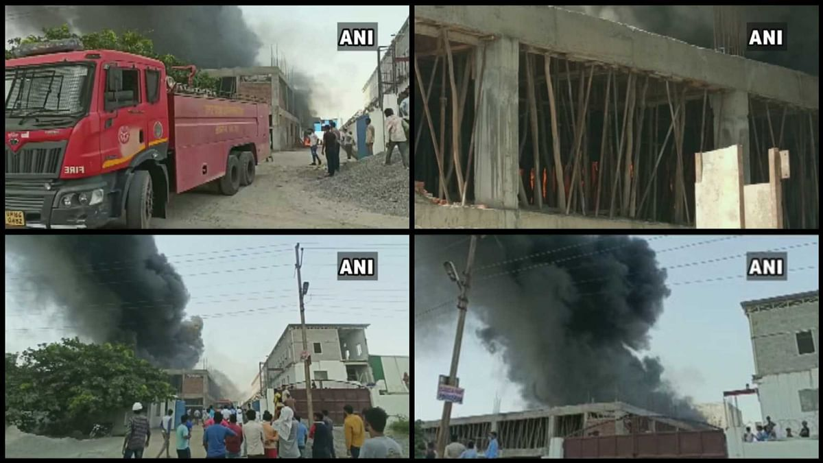 Greater Noida: Fire breaks out at an under-construction building in Kasna area; fire fighting operation underway