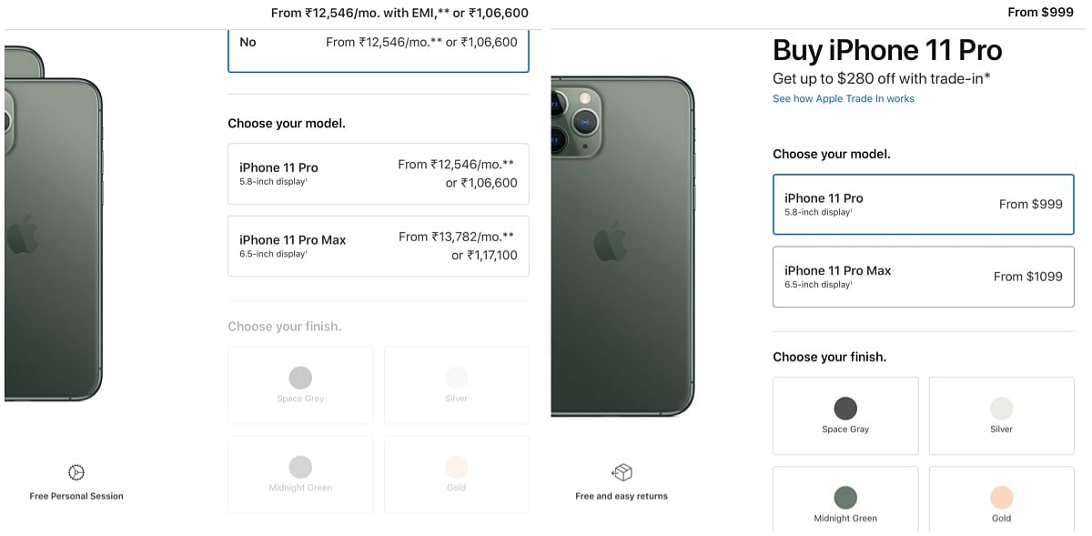 In USD is the cost of iPhone 11 Pro in the US market and in Rs is the price in the Indian market