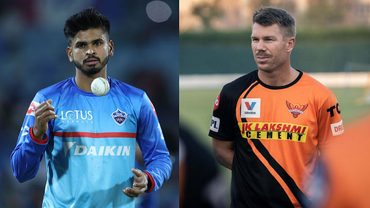 Shreyas Iyer (L), David Warner (R)