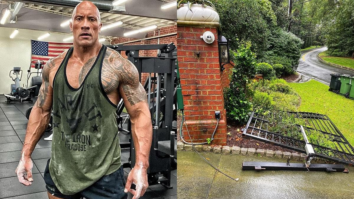 Watch: Dwayne 'The Rock' Johnson rips off iron gates of his house after getting trapped inside due to power outage