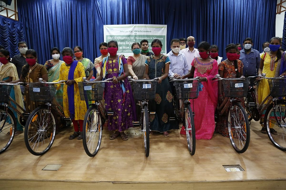 NTPC-Ramagundam distributes 500 bicycles to 8th class girl students of 31 govt schools
