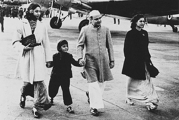 Feroze Gandhi with a young Rajiv and others at New Delhi's Palam airport.