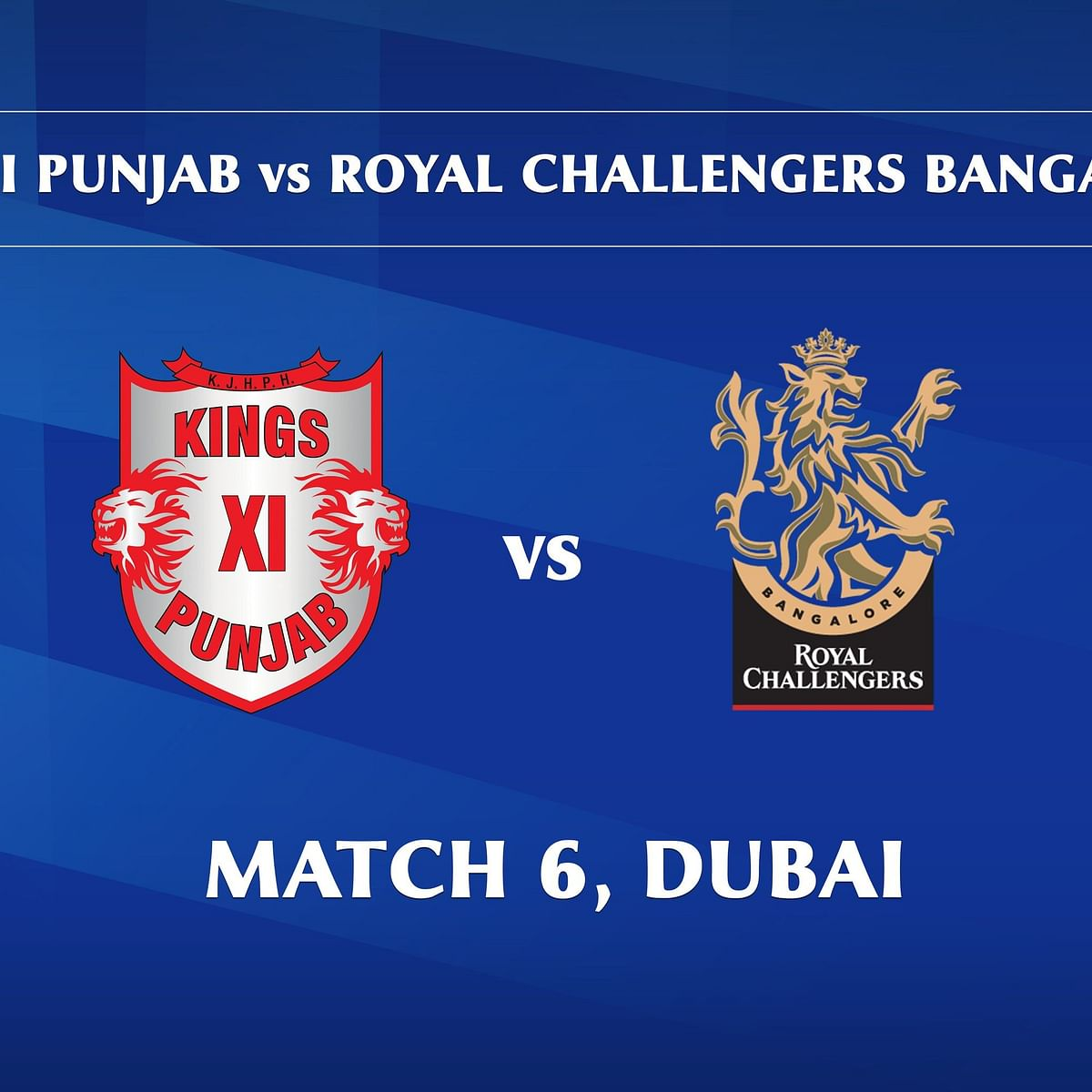 Kings XI Punjab vs Royal Challengers Bangalore LIVE: Score, Commentary for the 6th match of IPL 2020