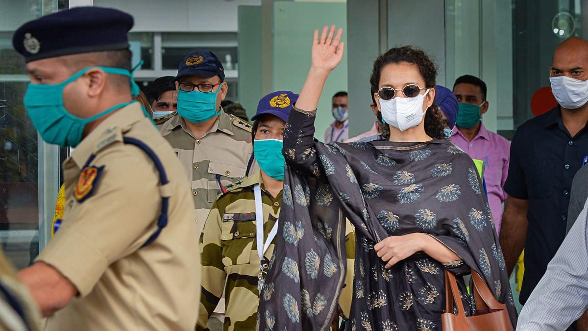 Bollywood actress Kangana Ranaut on her arrival at Mohali International Airport, in Punjab, Monday, Sept. 14, 2020