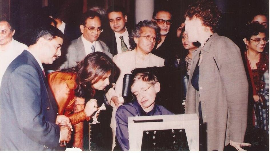 Prof Stephen Hawking during his India visit in 2000