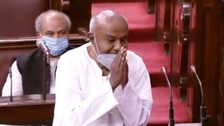 Ex-PM H.D. Deve Gowda takes oath as Rajya Sabha member