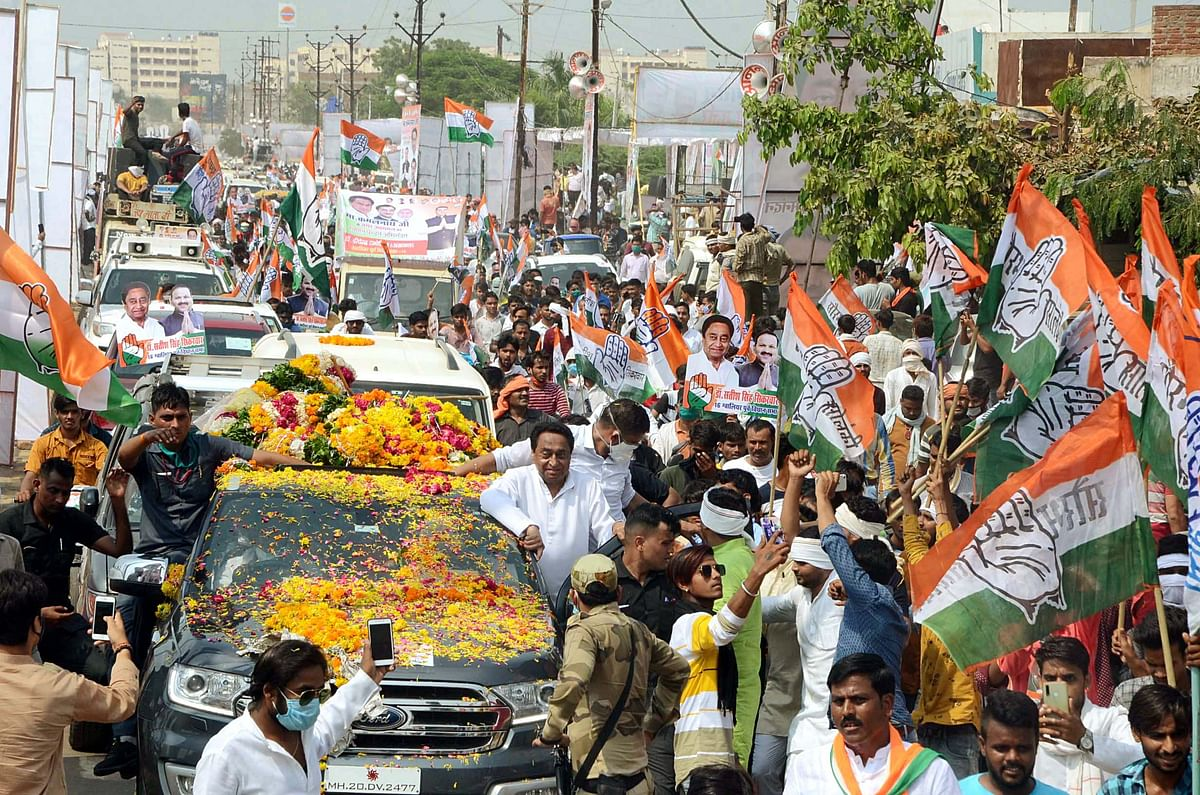 Madhya Pradesh State Congress President Kamal Nath during a roadshow in Gwalior on Friday.
