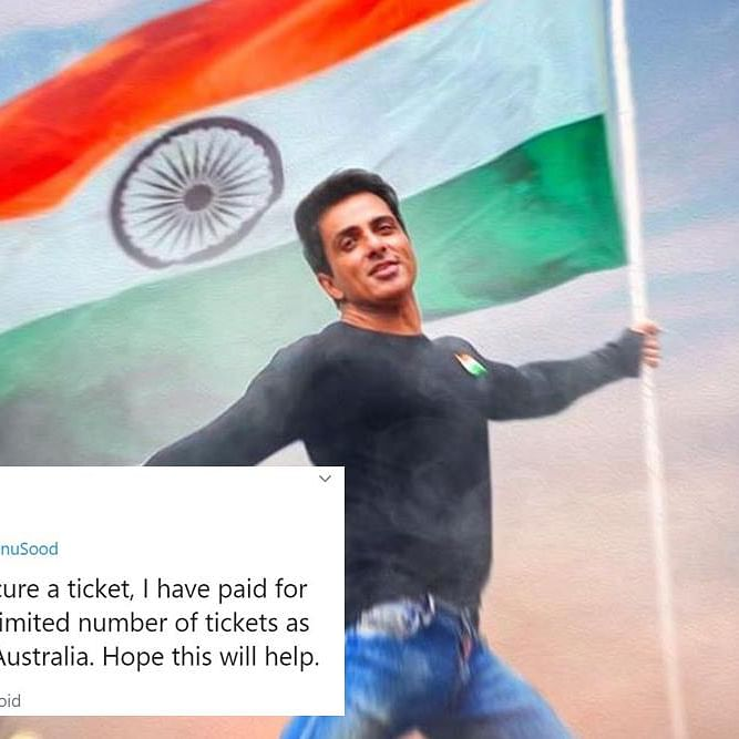 Did Sonu Sood take credit for just securing a man's plane ticket? Screenshots attached