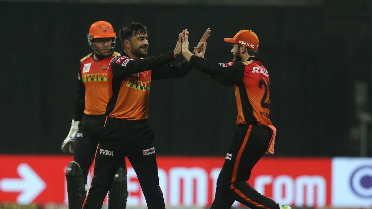 Rashid Khan celebrates Shikhar Dhawan's wicket with Kane Williamson