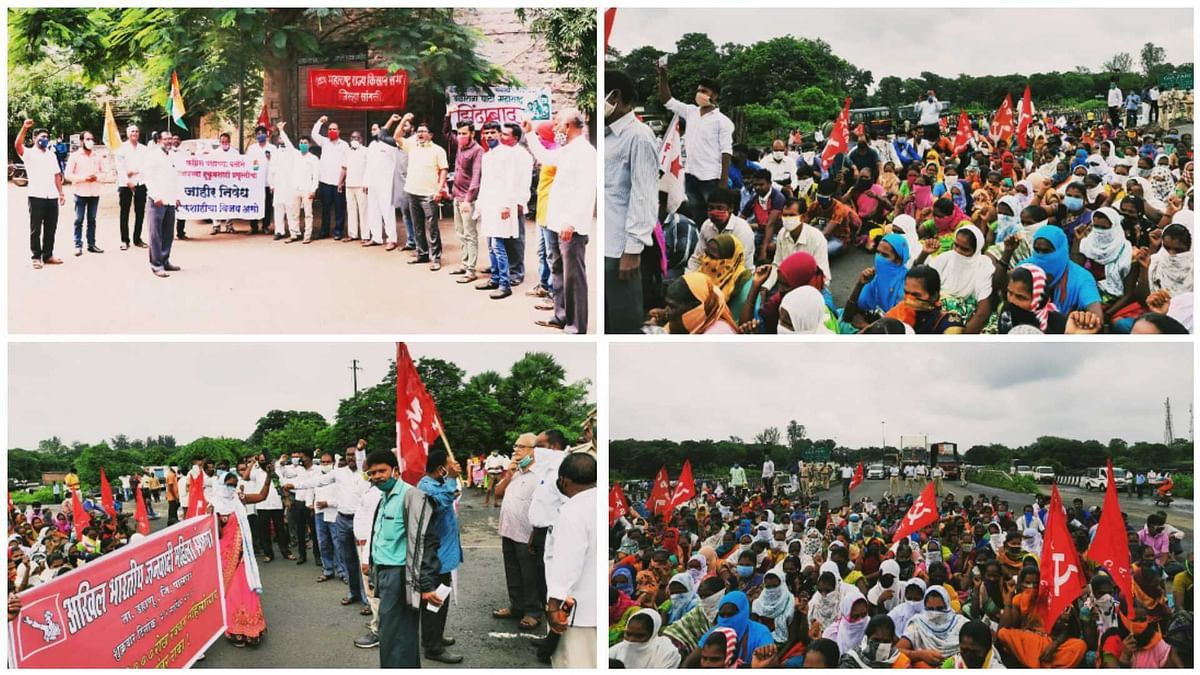 Maharashtra: Farmers hit the streets in protest against farm bills