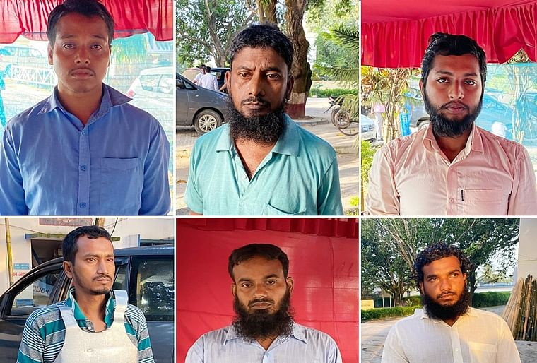 Al Qaeda terrorists, (Top Left to Right) Atitur Rehman, Abu Sufiyan, Najmus Sakib, (Bottom Left to Right) Leu Yean Ahmed, Al Mamun Kamal and Mainul Mondal arrested by NIA from Murshidabad on Saturday.