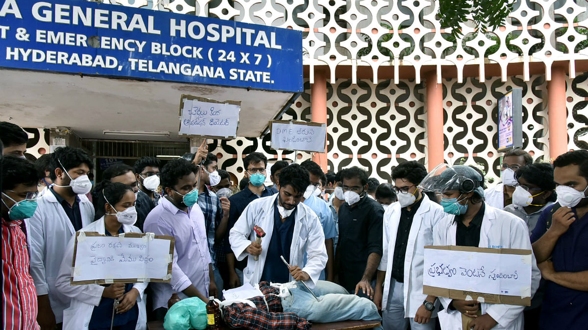 OGH Junior Doctors Association (JUDA) conducting mock surgeries during a strike over lack of basic equipment like monitors, oxygen lines in Hyderabad on Thursday