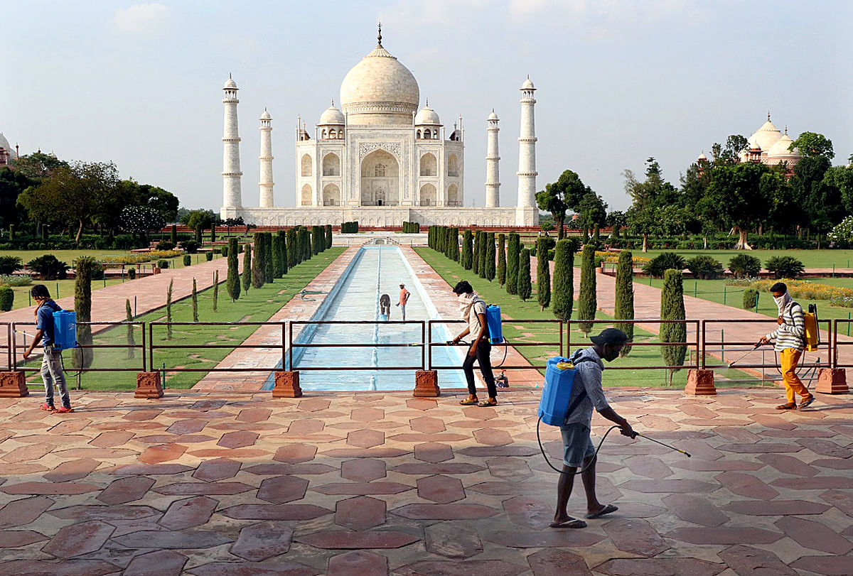 Sanitation Drive underway at the Taj Mahal in Agra on September 21, 2020. - The Taj Mahal reopens to visitors on September 21 in a symbolic business-as-usual gesture, even as India looks set to overtake the US as the global leader in coronavirus infections.